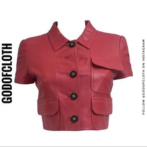 Chanel Red Leather Jacket from 1995